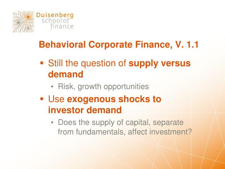 Behavioral Corporate Finance, V. 1.1