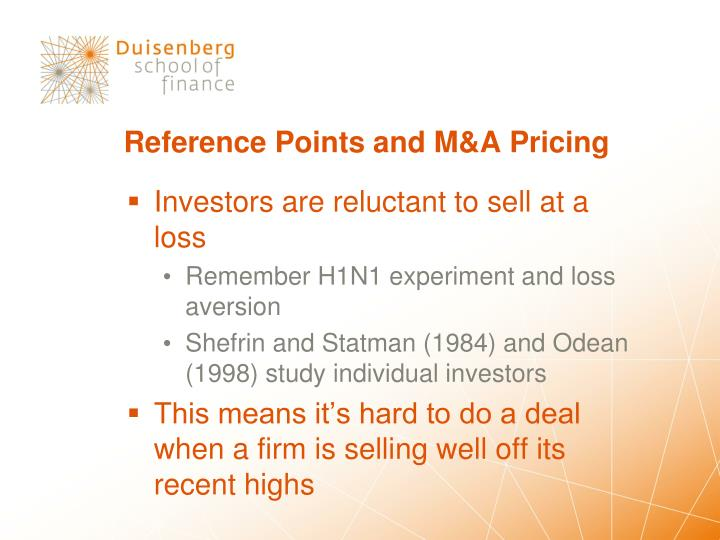 Reference Points and M&A Pricing
