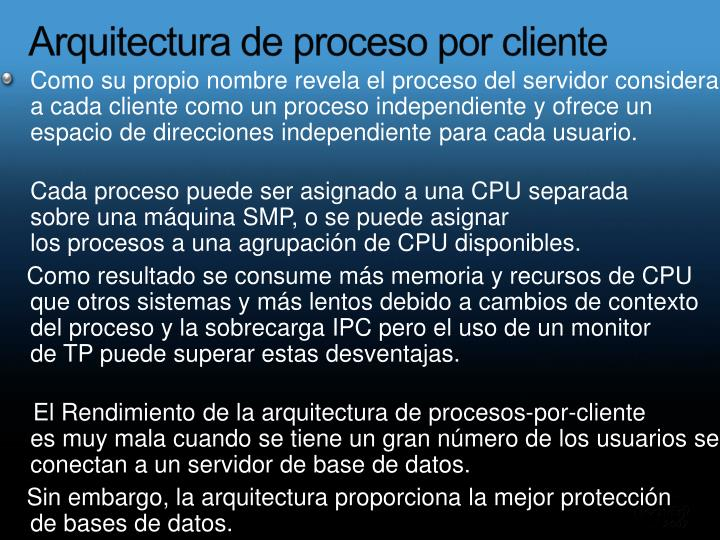 Arquitectura de proceso por cliente