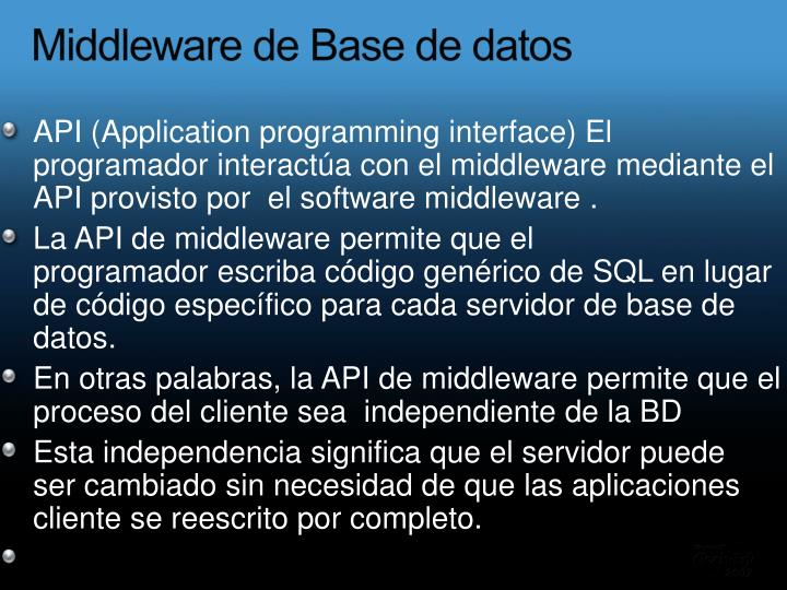 Middleware de Base de datos