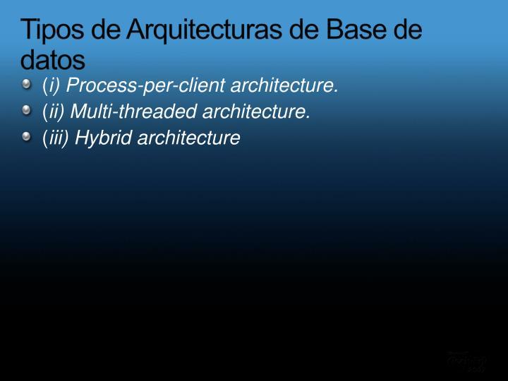 Tipos de Arquitecturas de Base de datos
