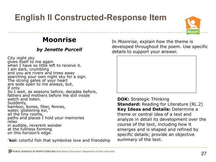 English II Constructed-Response Item