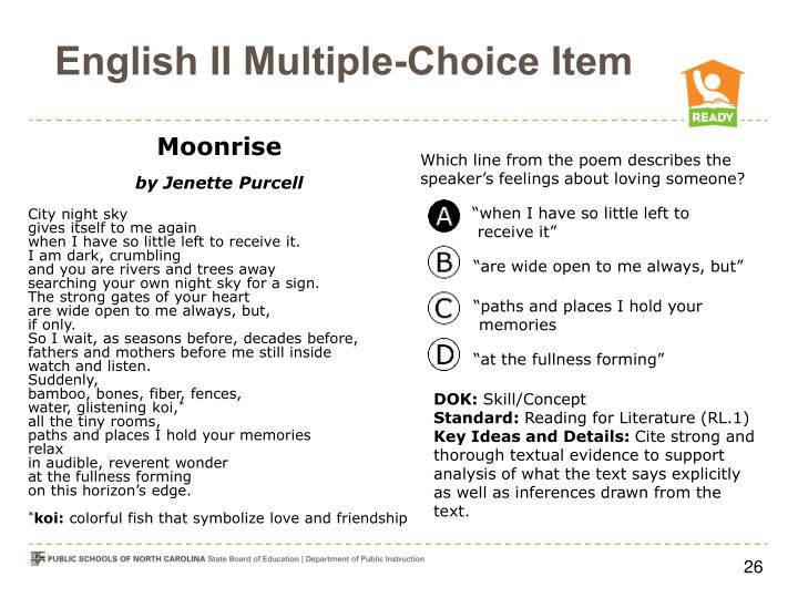 English II Multiple-Choice Item