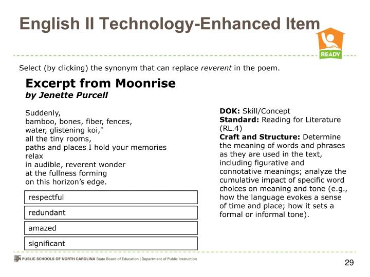 English II Technology-Enhanced Item