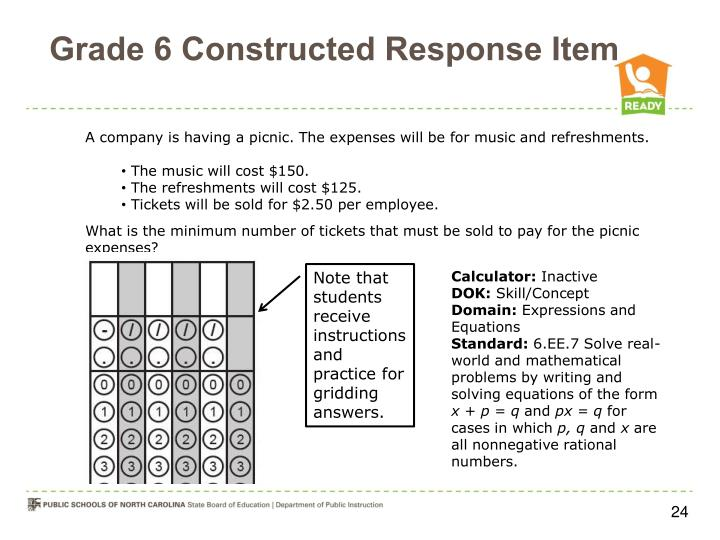 Grade 6 Constructed Response Item