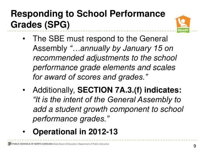 Responding to School Performance Grades (SPG)