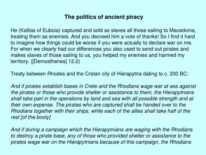 The politics of ancient piracy