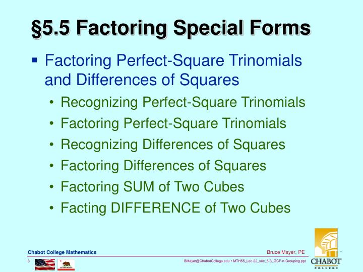 5 5 factoring special forms