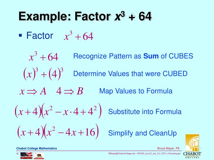 Example: Factor
