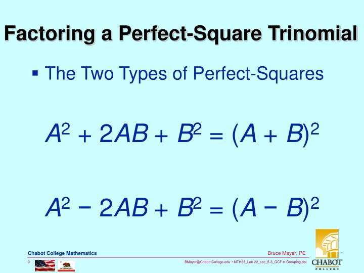 Factoring a Perfect-Square Trinomial