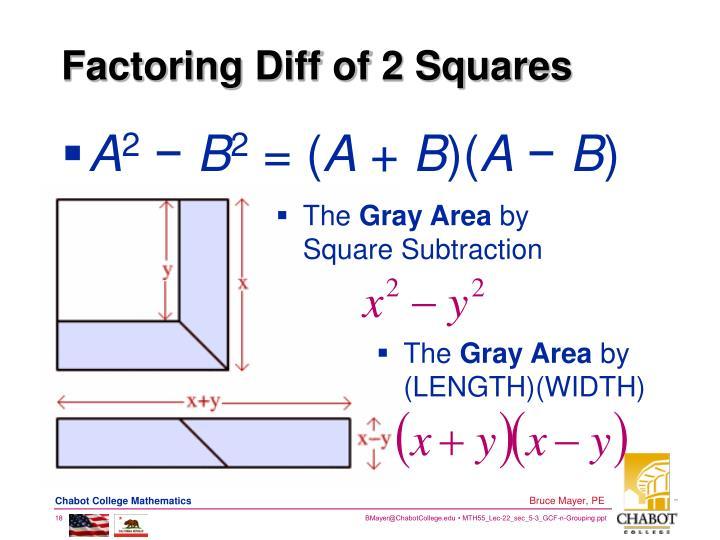 Factoring Diff of 2 Squares