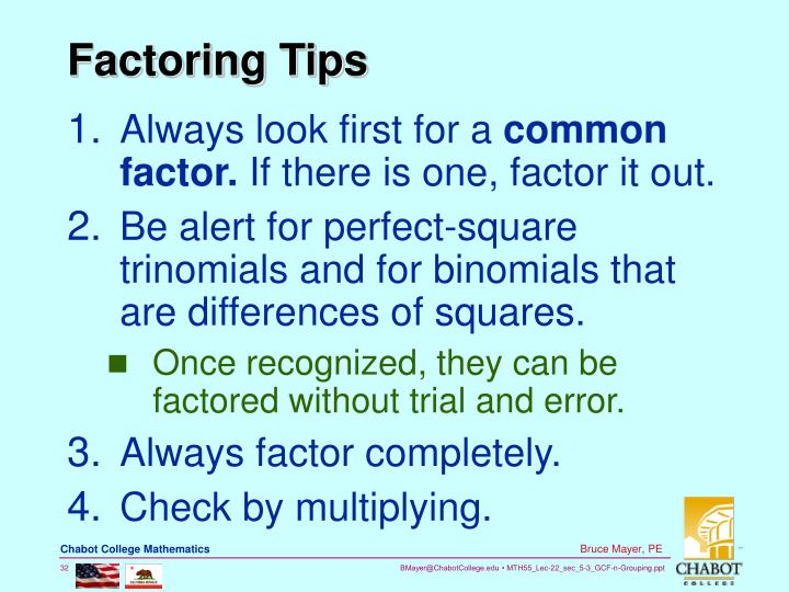 Factoring Tips