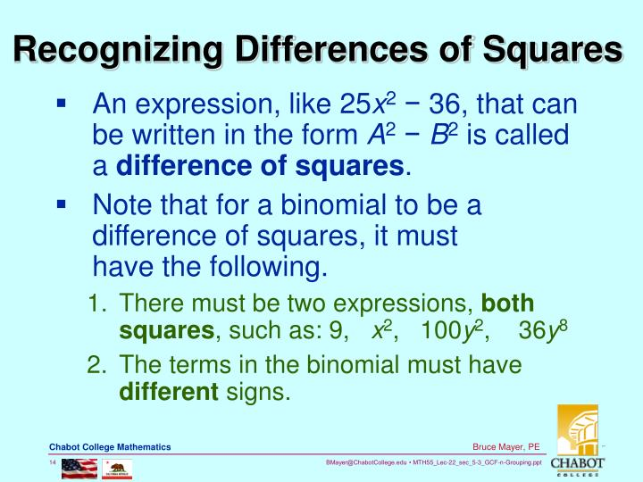 Recognizing Differences of Squares