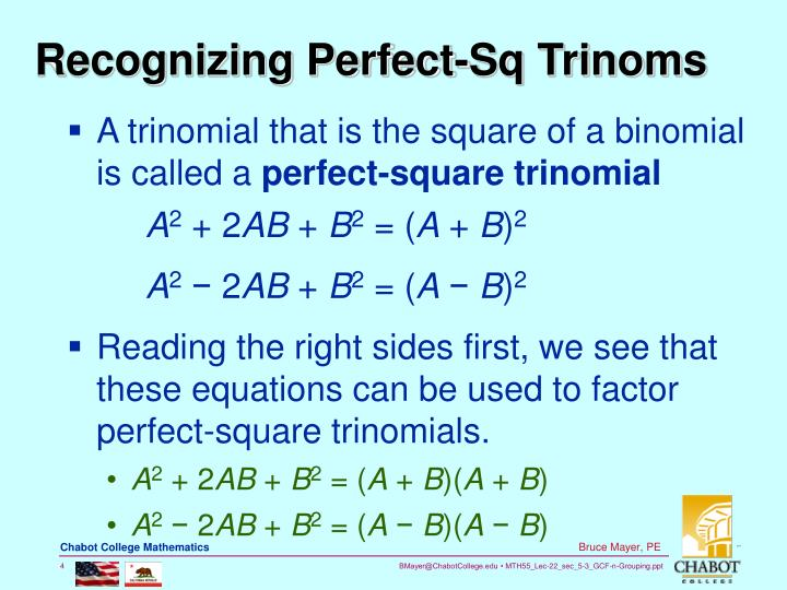 Recognizing Perfect-Sq Trinoms