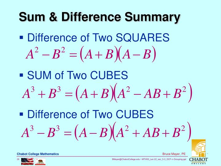 Sum & Difference Summary
