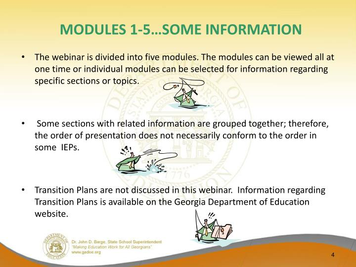 MODULES 1-5…SOME INFORMATION