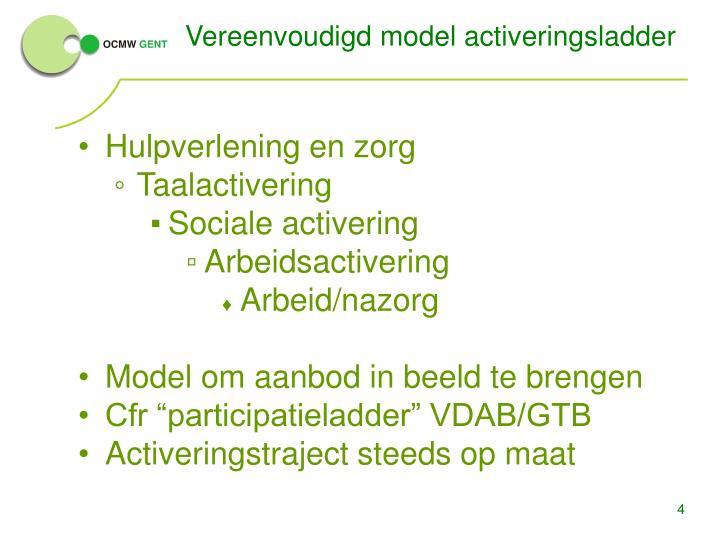 Vereenvoudigd model activeringsladder