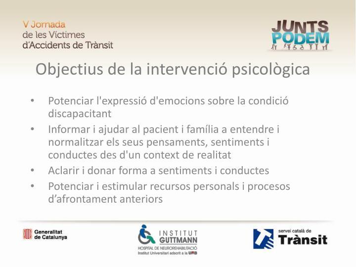 Objectius de la intervenció psicològica