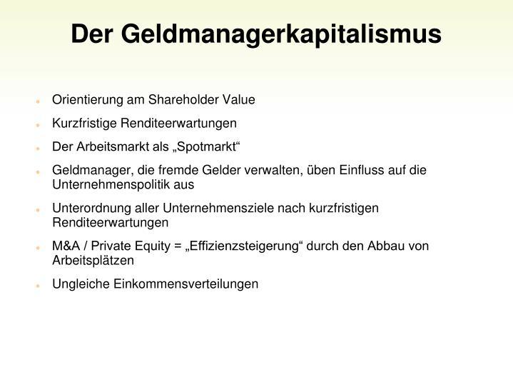Der Geldmanagerkapitalismus
