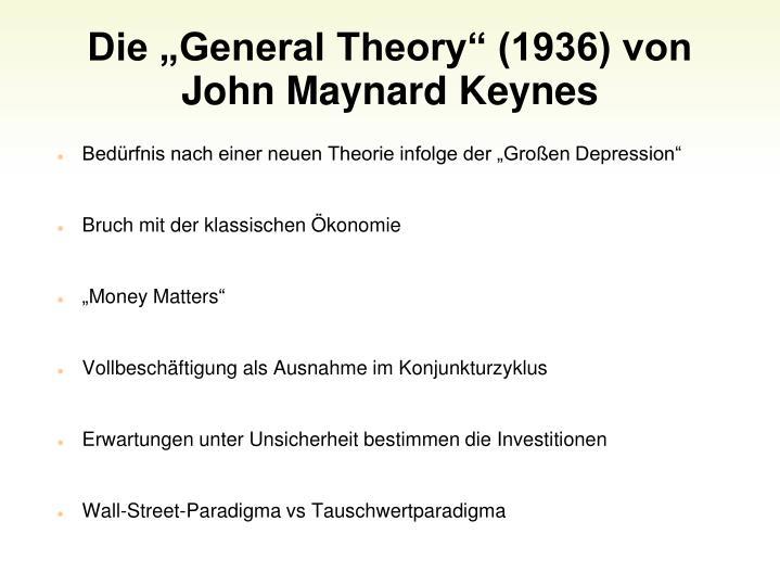 Die General Theory (1936) von John Maynard Keynes