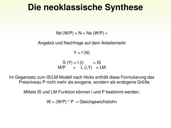 Die neoklassische Synthese