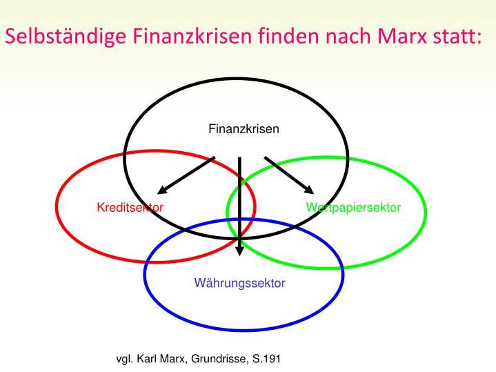 Selbstndige Finanzkrisen finden nach Marx statt: