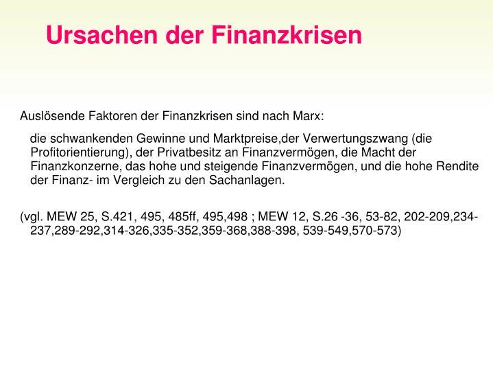 Ursachen der Finanzkrisen