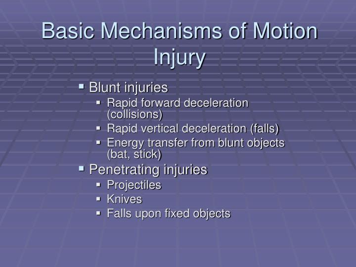 Basic Mechanisms of Motion Injury