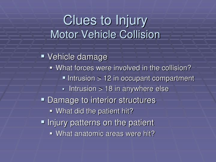 Clues to Injury