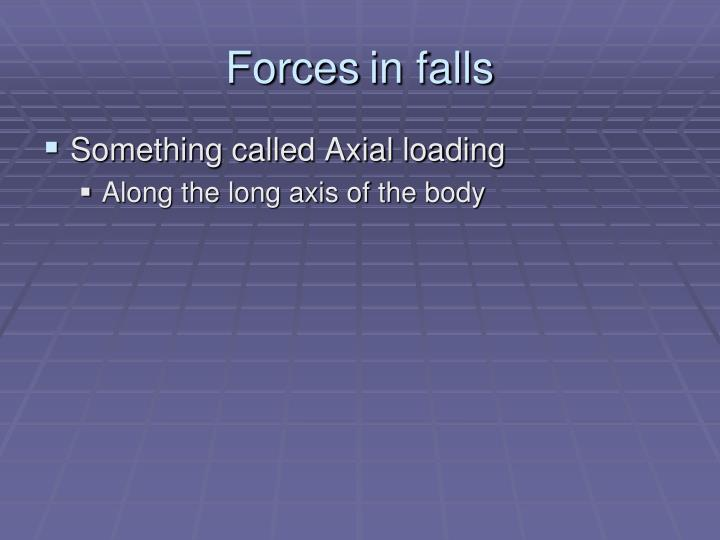 Forces	in falls