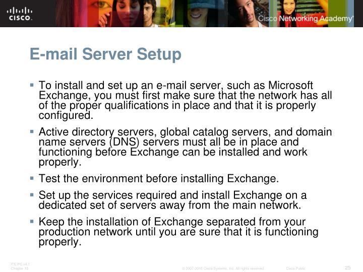 E-mail Server Setup