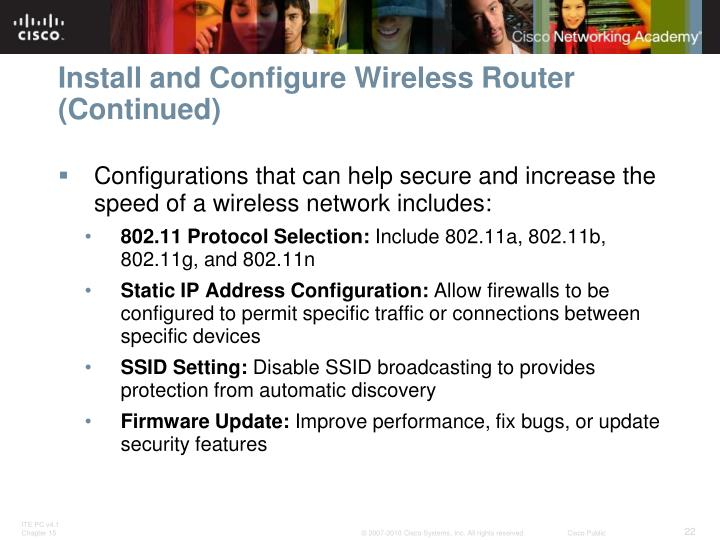 Install and Configure Wireless Router (Continued)