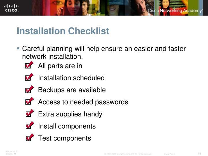 Installation Checklist
