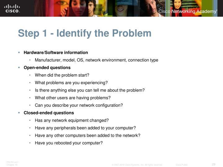 Step 1 - Identify the Problem