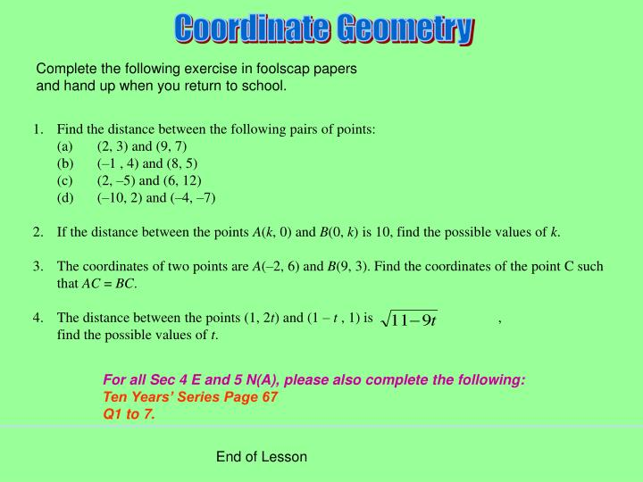 Complete the following exercise in foolscap papers