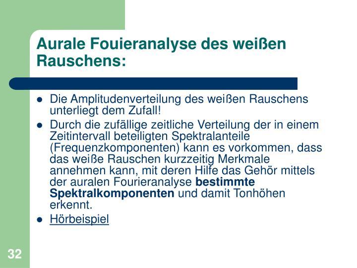 Aurale Fouieranalyse des weißen Rauschens: