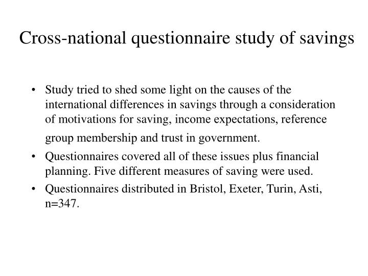 Cross-national questionnaire study of savings