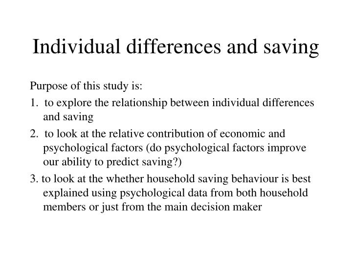 Individual differences and saving