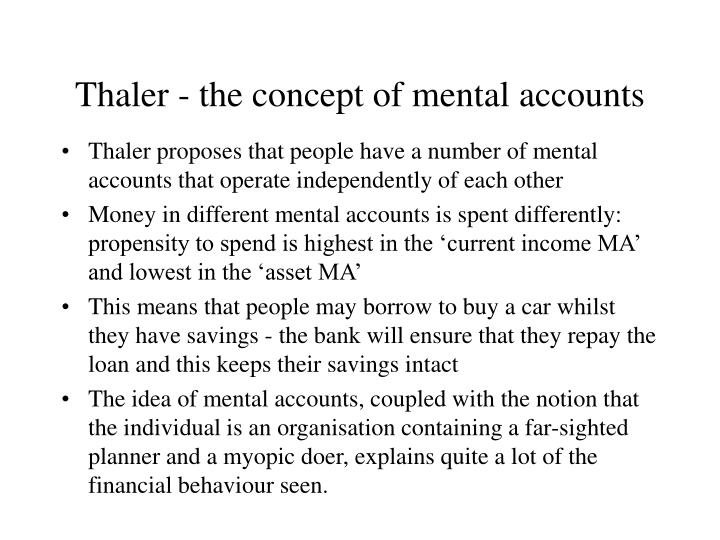 Thaler - the concept of mental accounts