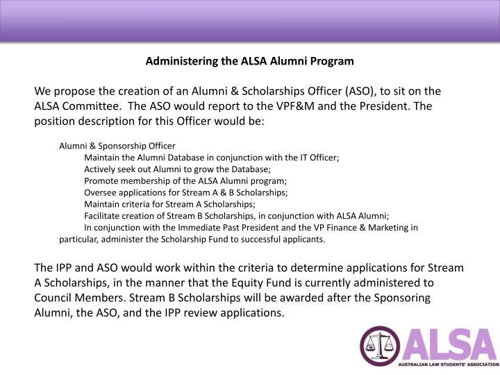 Administering the ALSA Alumni Program