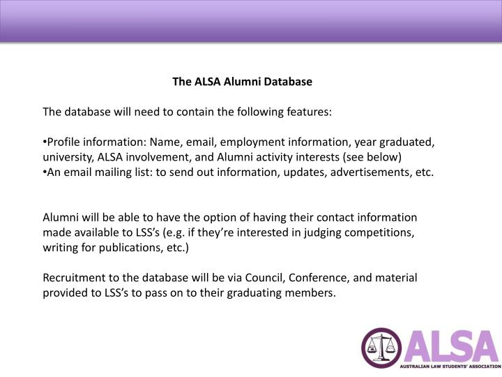 The ALSA Alumni Database