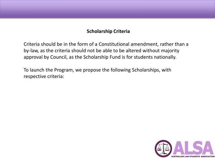 Scholarship Criteria