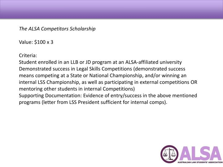The ALSA Competitors Scholarship