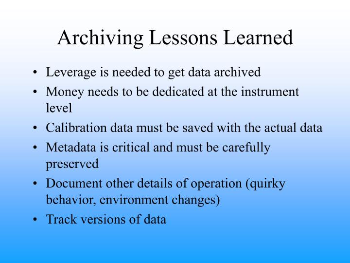 Archiving Lessons Learned
