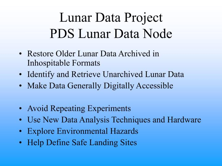 Lunar Data Project