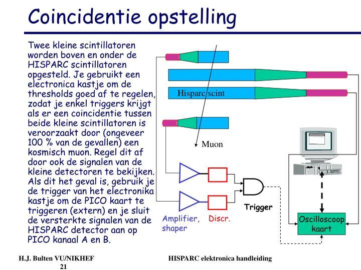 Twee kleine scintillatoren worden boven en onder de HISPARC scintillatoren opgesteld. Je gebruikt een electronica kastje om de thresholds goed af te regelen, zodat je enkel triggers krijgt als er een coincidentie tussen beide kleine scintillatoren is veroorzaakt door (ongeveer 100 % van de gevallen) een kosmisch muon. Regel dit af door ook de signalen van de kleine detectoren te bekijken. Als dit het geval is, gebruik je de trigger van het electronika kastje om de PICO kaart te triggeren (extern) en je sluit de versterkte signalen van de HISPARC detector aan op PICO kanaal A en B.