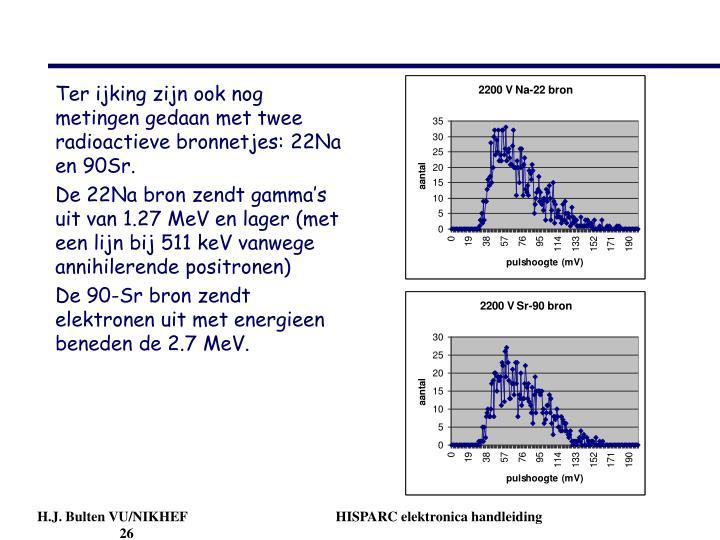 Ter ijking zijn ook nog metingen gedaan met twee radioactieve bronnetjes: 22Na en 90Sr.