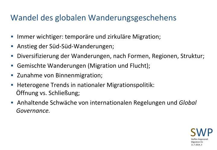 Wandel des globalen Wanderungsgeschehens