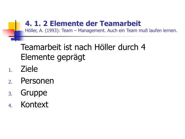 4. 1. 2 Elemente der Teamarbeit
