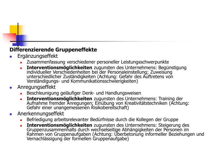 Differenzierende Gruppeneffekte